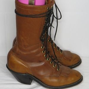 Olathe Vintage Packer Cowboy Western Lace Up Boots